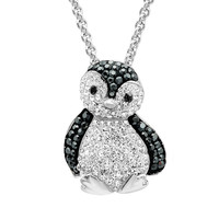 Sterling Silver Black and White Crystal Penguin Pendant-Necklace with Swarovski Elements