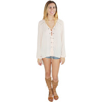 Saylor Lace Up Blouse in Peach Blush