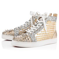 Best Online Sale Christian Louboutin Cl Mixkeoshell Flat Silver/light Gold Leather 18s Shoes 1180213s017