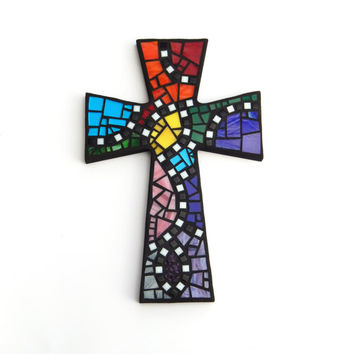 "Mosaic Wall Cross, Large, Black with Rainbow Glass, Handmade Stained Glass Mosaic Cross Wall Decor, 15"" x 10"""