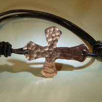 Hammered copper cross bracelet