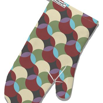 Geometric Abstract AOP White Printed Fabric Oven Mitt All Over Print by TooLoud