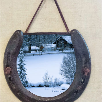 Rustic Horseshoe Wall Hanging with Snowy Winter Scene Image, Perfectly Aged Patina, Leather Accent, Good Luck, Holiday Wall Decor, Christmas