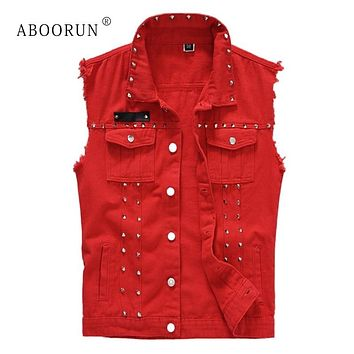 ABOORUN Punk Men's Denim Vest Black Rivets Slim fit Waistcoat Plus Size 5XL Sleeveless Jacket Streetwear for Male YC1346