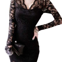 Amoin Women's Gorgeous Elbow Sleeve Sexy Elegant Prom Lace Dress