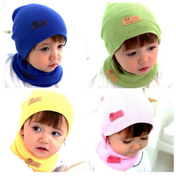 NEW Winter 2pc Soft Boys Kids Age 1-6 Knit Ribbed Beanie Ski Hat Cap Scarf Set for 1-6years
