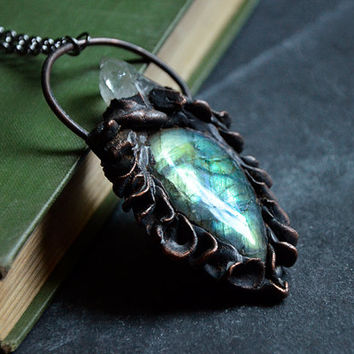 Green Blue Yellow Labradorite with Copper Scale Texture and Quartz Crystal   Crystal Necklace   Gemstone Necklace   Antique Copper