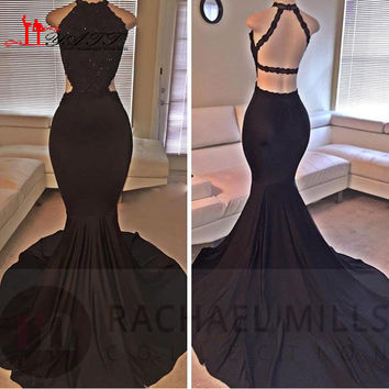 Sexy Real Image Black Mermaid Prom Dresses 2016 Halter Backless Sweep Train Appliqued Plus Size Formal Evening Girl Party Gowns