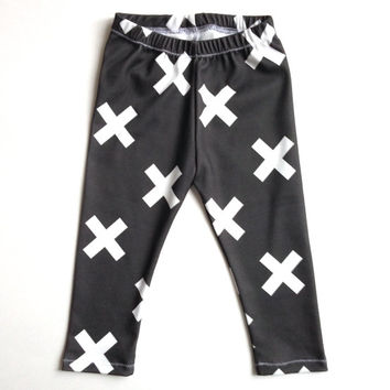 Organic Baby Leggings Black White Cross X Symbol