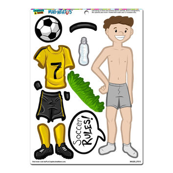 Boy Soccer Player Dress-Up - Football Sports Funny MAG-NEATO'S TM Refrigerator Magnet