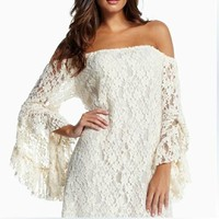 One word retro lace dress