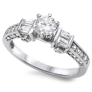 Sterling Silver Double Baguette and Round Cubic Zirconia Engagement Ring