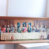 Large Last Supper Vintage Painting, 2D Handpainted Jesus & Disciples, Religious Art, Home Decor, Panoramic Art of Last Supper, christian art