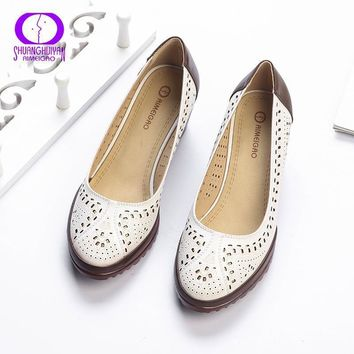 2017 Summer Style Hollow Out Sandals Soft Leather Women Shoes Pointed Toe High Heel Sw