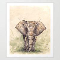 Elephant Art Print by Joy Paton