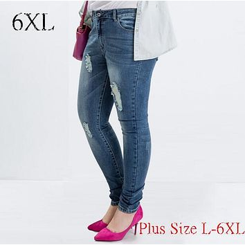 Plus size L-6XL Spring European and American fat MM was thin elastic large size hole in jeans female feet 100kg wear