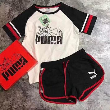 ONETOW Women Fashion 'PUMA' Print Short sleeve Top Shorts Sweatpants Set Two-Piece Sportswear