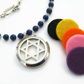 """Pentacle Diffuser Necklace, 19"""" Angelite & Lapis Lazuli Necklace, Essential Oil Diffuser Jewelry, Locket Mala Necklace, READY To SHIP"""