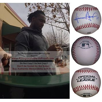Alen Hanson Autographed Rawlings ROLB1 Baseball, Seattle Mariners, Pittsburgh Pirates, Proof Photo