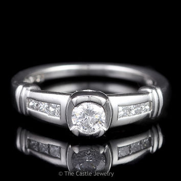 Platinum Engagement Ring .25ct Round Half Bezel Channel Set Princess Cut Sides