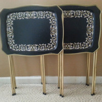 Cal Dak Metal TV Tray Tables Set of Four with Stand Black Gold Neoclassic Design
