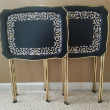 metal tv trays with stand 1