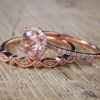 Ring 18k rose gold plated ring set ring engagement ring micro inlaid zircon ring