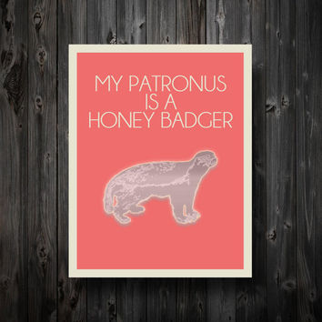 $13.99 My Patronus Is A Honey Badger 11 x 14 Poster by EntropyTradingCo