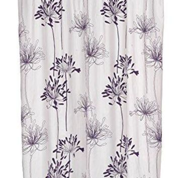 BenandJonah Collection Fabric Shower Curtain 70 x 72 inch  Flowery Design Indigo/White