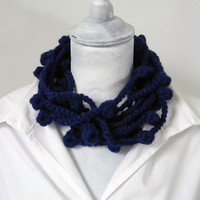 NAVY BLUE Crocheted Infinity Wool Necklace - Ready To Ship | Luulla