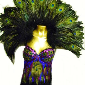 Black coque & PEACOCK Feather Huge victorian Collar Reversable Custom Made USA