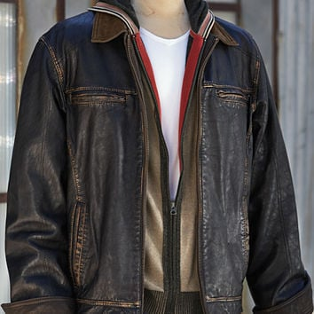 Great Men's Leather Jackets - Expat Leather Bomber-Carbon 2 Cobalt