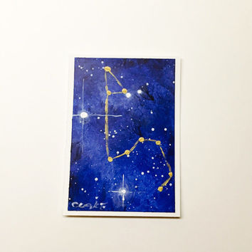 Leo Constellation Acrylic Painting, ACEO, Artist Trading Card, Original Art