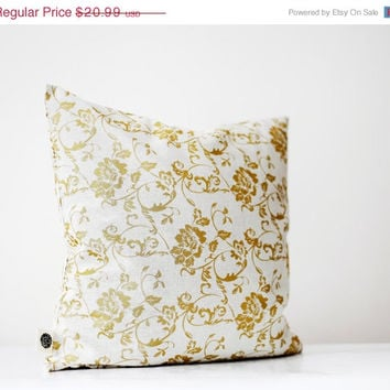 ON SALE Gold print Pillow cover - solid gold floral print on decorative covers - throw pillows - cushions - 16x16 inch size