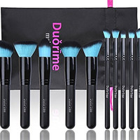 Style Master Makeup Brush Set Cosmetics Foundation Blending Blush Eyeliner Face Powder Brush Kabuki Blue Hair (10pcs Black)