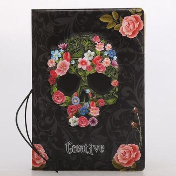 DCCKU62 Creative Skull Rose PU Leather Passport Covers  Package Passport Holder Protector Wallet