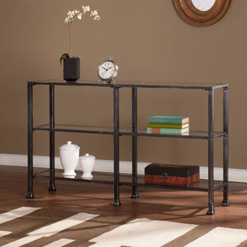 Southern Enterprises Metal/Glass 3-Tier Console Table - Distressed Black
