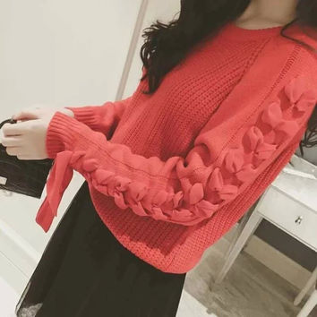Winter Butterfly Knit Pullover Sweater [6512931655]