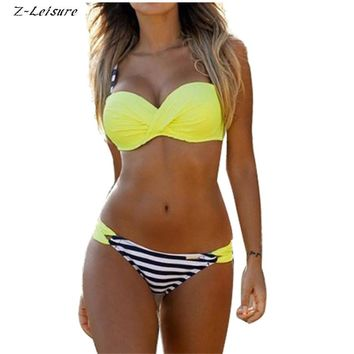 2017 Push Up Swimwear Sexy Bikini Women Low Waist Stripe Polka Dot Swimsuit Beachwear Brazilian Biquinis Maillot De Bain BK090