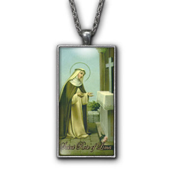 Saint Rose of Lima Painting Religious Pendant Necklace Jewelry