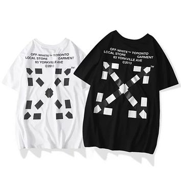 Off White New fashion letter cross arrow print couple top t-shirt