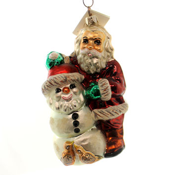 Christopher Radko FROSTY SANTA Glass Ornament Snowman Christmas Bird