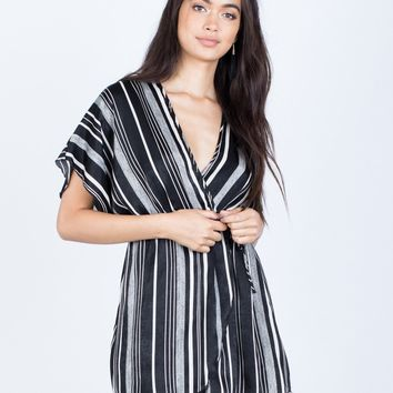 Cool Striped Wrap Dress