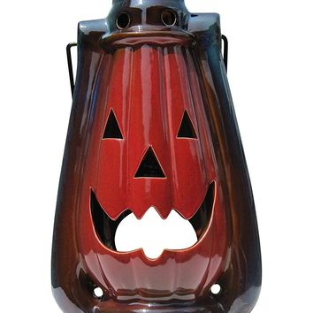 Halloween Pumpkin Lantern with Handle, Glazed Stoneware -  Large Decorative Table or Hanging Lantern for Candle or LED Light – Indoor or Outdoor