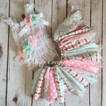 Fabric Tutu, Shabby Chic Tutu, Baby Headband, Baby Petti Lace Top, Pink, Mint, Vintage, Baby, Photo Prop, Birthday