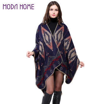 Bohemian Women Warm Ponchos And Capes Geometric Pattern Contrast Color Pashmina Shawl Boho Cape Dark Blue SM6