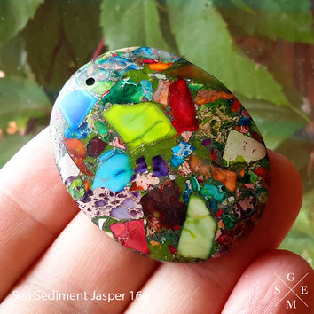 Beautiful Rainbow Sea Sediment Jasper Pendant Bead & Pyrite 16g Sea moods Jewelry necklace Pendant bead