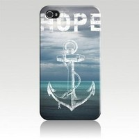 Hope Anchor Black Sides Hard Plastic Slim Snap On Case Cover for iphone 4/4s in EverestStar Box Packaging: Cell Phones & Accessories