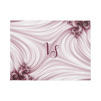 Pretty pink fractal. Silk imitation. Add monogram. Doormat