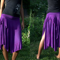 Organic bamboo jersey double layer pixie skirt asymmetric hand dyed in solid colors S, M, L